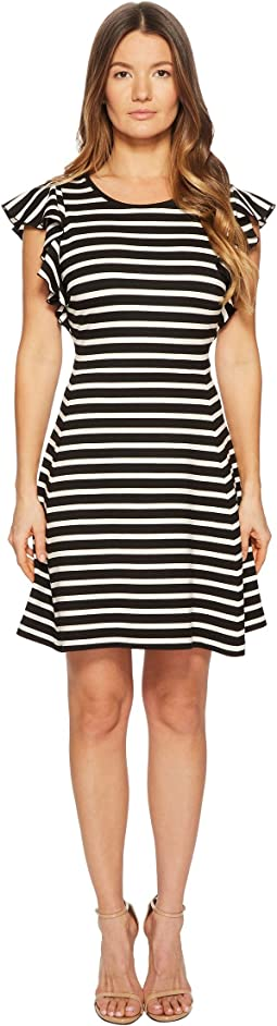 Kate Spade New York - Stripe Flutter Sleeve Dress