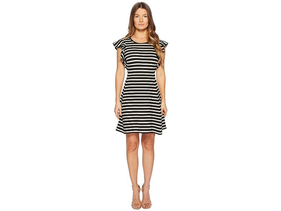Kate Spade New York Stripe Flutter Sleeve Dress (Black/Off-White) Women