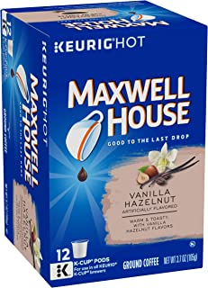 Maxwell House Vanilla Hazelnut Medium Roast K-Cup Coffee Pods (72 Pods, 6 Packs of 12)