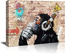 canvas walll art framed wall art for bedroom bathroom decor abstract thinking monkey with headphones canvas prints home wall decor artwork gallery wrap Inner frame to hang