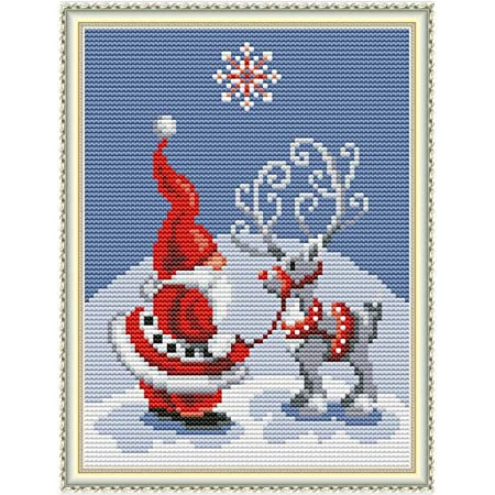 """Winter Deer 11CT 27/""""X 19/"""" Pattern Printed On Fabric for Home Decor Cross Stitch Stamped Kits Cross-Stitching Accurate Pre-Printed Pattern for Adults"""