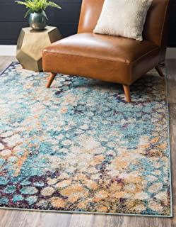 Unique Loom Vita Collection Traditional Over-Dyed Vintage Blue Area Rug (7' x 10')