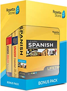 Learn Spanish: Rosetta Stone Bonus Pack Bundle (Lifetime Online Access + Grammar Guide and Dictionary Book Set)