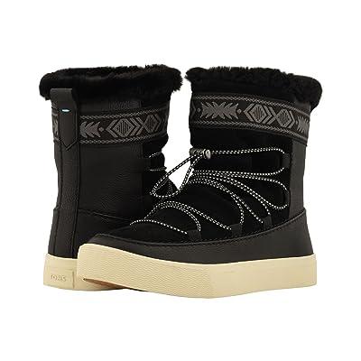 TOMS Alpine Water-Resistant Boot (Black Leather/Suede/Faux Fur) Women