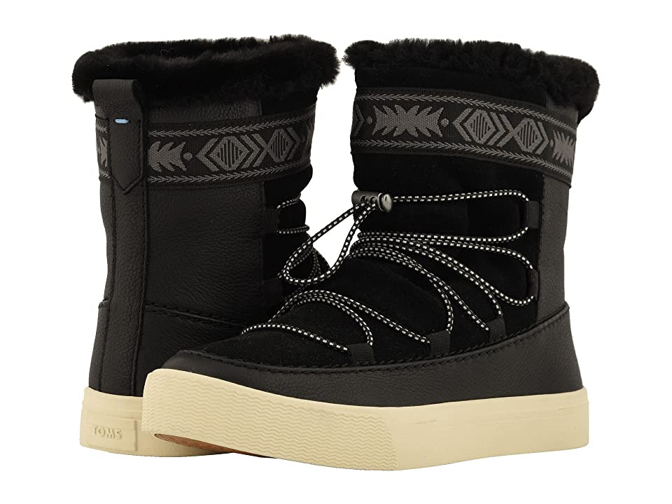 TOMS Alpine Water-Resistant Boot (Black Leather/Suede/Faux Fur) Women
