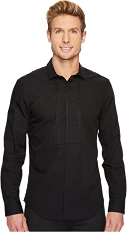 Calvin Klein - Solid Piece Dyed Poplin Bib Button Down Shirt