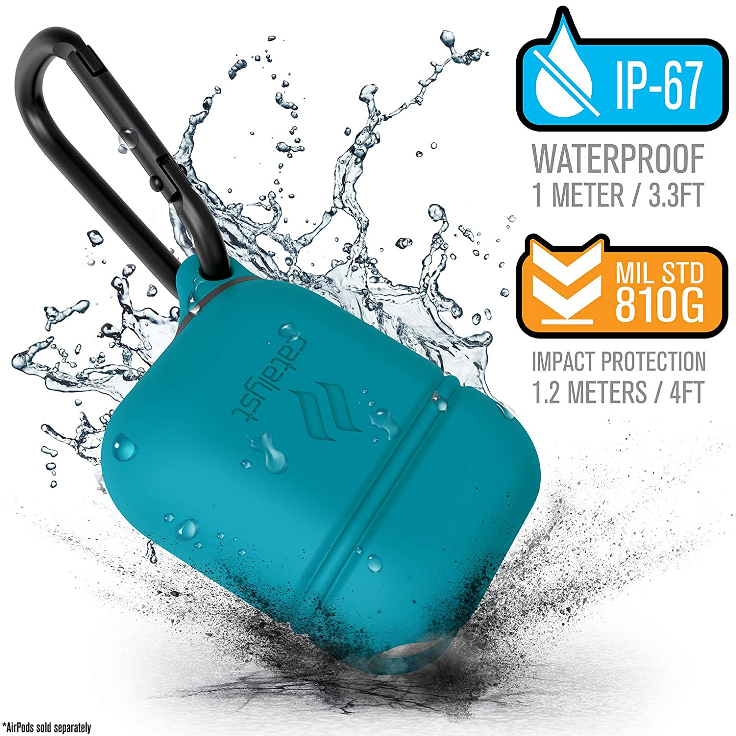 Wireless Charging Case for Airpods 2 Cover by Catalyst, Compatible with Airpods 1, Shockproof Protective Cover Soft Skin, Carabiner, Silicone, Compatible Wireless Charging - Apple Accessories -Teal