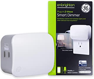 GE Enbrighten Z-Wave Plus Smart Plug Polarized, Full Light Dimming, Built-in Repeater/Range Extender, Zwave Hub Required, Works with SmartThings Wink and Alexa, 28167, White 1-Outlet Dimmer
