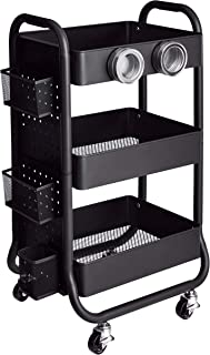 AmazonBasics 3-Tier Metal Storage Rolling Cart with Utility Handle and Extra Storage Accessories, Black