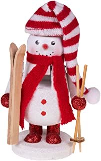Clever Creations Traditional Wooden Skier Snowman Nutcracker with Skis Festive Christmas Decor | 6