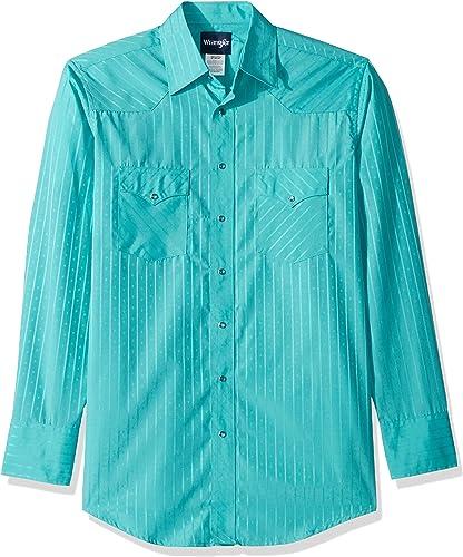 Wrangler Hommes's Taille Tall Sport Western Snap Shirt in Dobby Stripe, Turquoise, LT