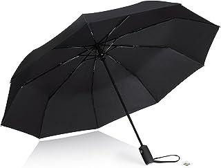 AYL Windproof Travel Umbrella Foldable - with Teflon Coating (Black)