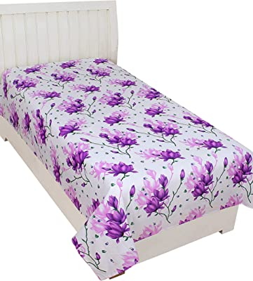 Trendz Home Furnishing Glace Cotton Single Bedsheet Cum Topsheet Without Pillow Cover Color-Purple