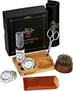 Beard Grooming Travel Kit – Beard Oil Cedarwood, Beard Brush, Beard Comb, Scissor, Beard Balm Wax Butter for Trimming Softening Shaping Conditioning Styling Gift Set by BFWood