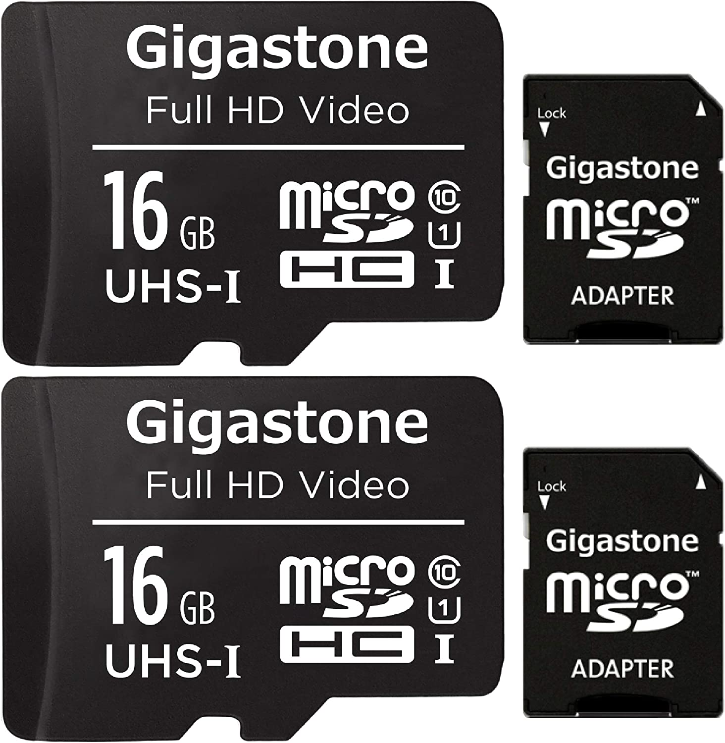 Gigastone 16GB 2-Pack Micro SD Card, FHD Video, Surveillance Security Cam Action Camera Drone, 85MB/s Micro SDHC UHS-I U1 Class 10