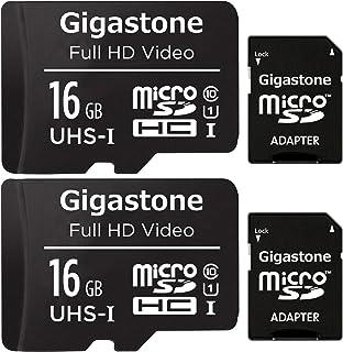 Gigastone マイクロSDカード 16GB 2個セット Micro SD Card SD アダプタ付 ミニ収納ケース付 SDHC U1 C10 85MB/S 高速 micro sd カード Class 10 UHS-I フルHD 動画