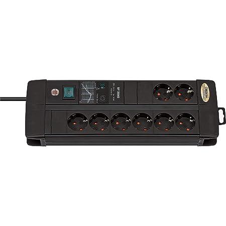 Brennenstuhl Premium-Line Duo regleta de enchufes con 8 Tomas de Corriente y protección contra sobretensiones hasta 30.000 A (3 m de Cable, Interruptor, Fusible reemplazable, Made in Germany) Negro