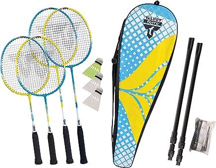 2 Schl/äger 449405 Talbot Torro Badminton-Set Magic Night 2 LED Federb/älle f/ür das Spiel bei Nacht in wertiger Tasche