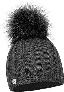 ELIMELI® Cashmere wintermuts voor dames, warme gebreide muts, wollen muts met kasjmier wintermuts met kunstbont, pompon, s...