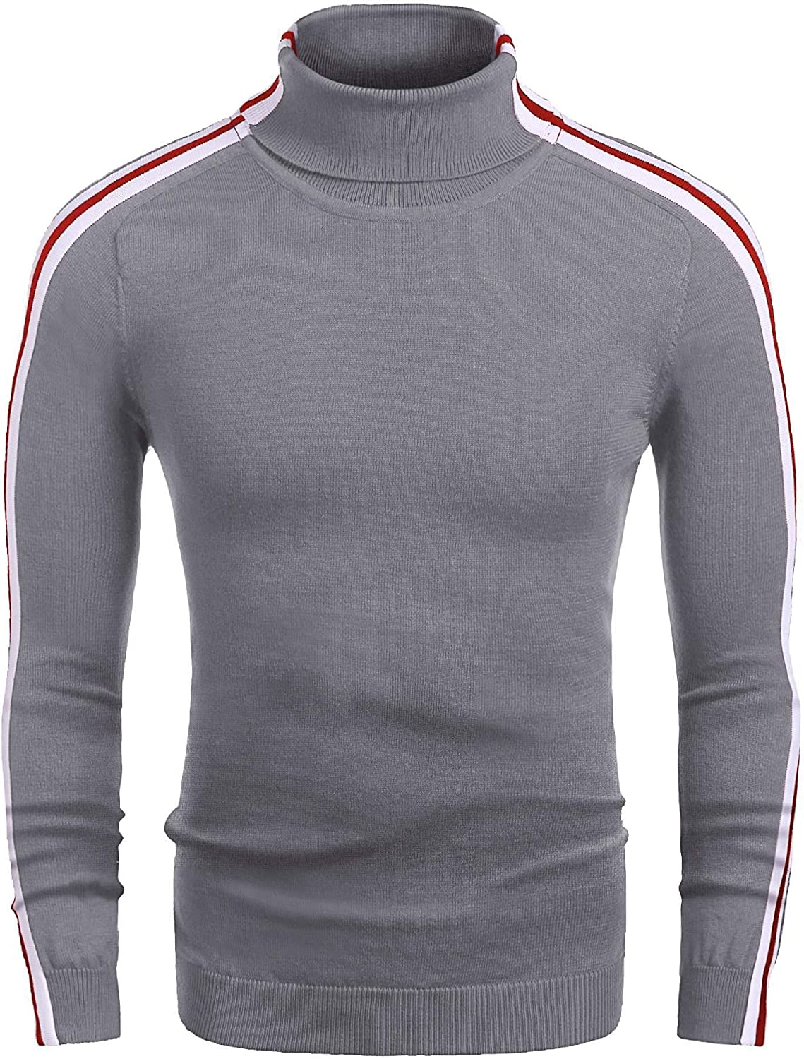 COOFANDY Men's Slim Fit Turtleneck Sweater Striped Thermal Knitted Pullover Sweater