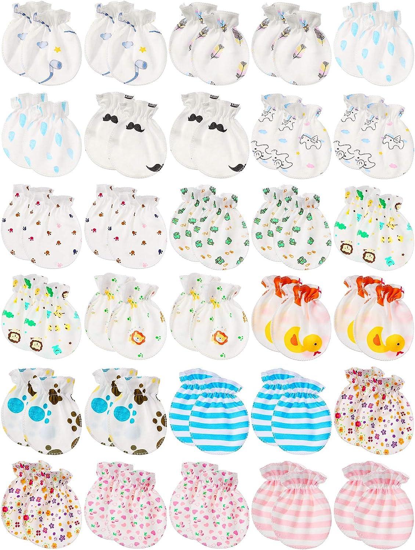 Newborn Baby Gloves Infant No Scratch Mittens Unisex Baby Gloves for 0-6 Months Baby Boys Girls (30 Pairs)