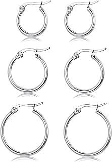 3 Pairs Sterling Silver Round Hoop Earring for Women Girls Lightweight Click-Top Hoop Earring Hypoallergenic 10-20MM