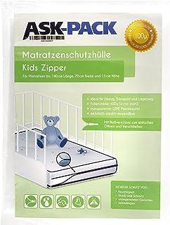 ASK Pack Premium skyddspåse för barnmadrasser (3.generation) med DRAGKEDJA, för en 70 cm bred / 140 cm lång / upp till 15...