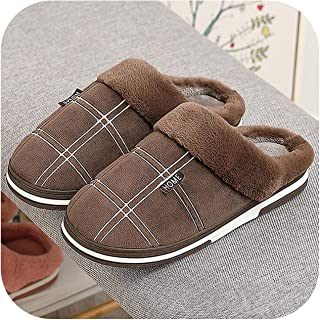 Men's Slippers Home Slippers Size 50 Warm Antiskid Sturdy House Shoes for Men Gingham Velvet Suede Slippers