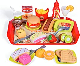 FUN LITTLE TOYS 40 PCs Play Food for Kids Kitchen, Play Kitchen Accessories, Toy Foods with Cutting Fruits and Fast Food for Pretend Play, Kids Birthday Gifts