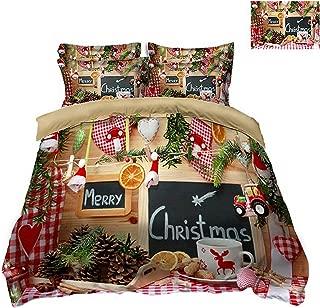 HOT-house 3D Bedding Set Twin Queen Christmas Rhythm California King Size Bed/Flat Sheet Linen Set Duvet Quilt Cover Pillow,3D Bedding Set,Ru Double 175x210cm