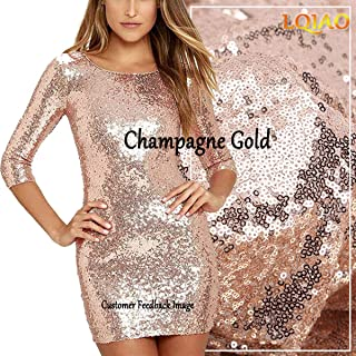 LQIAO Shimmer Champagne Gold Sequin Fabric By The Yard Two Way Stretch Spandex Embroidered Mesh African Lace Sequin Fabric for Dress Sewing