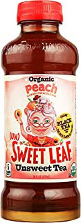 Sweet Leaf Organic Unsweetened Peach Tea 16 oz Plastic Bottles Pack of 12