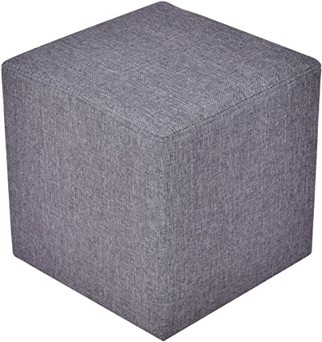 high quality Giantex outlet sale Linen Ottoman Cube Square Foot Stool Seat Wood outlet online sale Frame, Gray outlet online sale