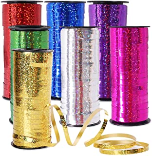 7 Pack Curling Ribbon, Lainrrew Metallic Balloon Ribbon Assorted Colors Balloon String for Crafts, Florist, Valentine's Da...
