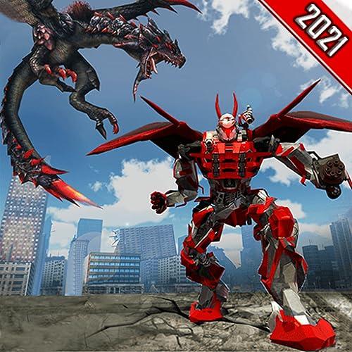 3551   5000 Translation results Super Dragon Warrior Robot Transform Battle - Ultimate Mega Wings Flying Dino Transforming Superhero Robot Shooting War Simulator Juegos 2021