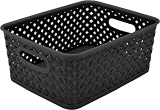 Simplify Small Resin Wicker Bin in Black Storage Basket