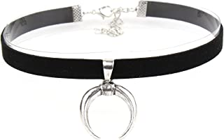 Choker Land | Silver Crescent Sailor Moon Pendant Black Suede Leather Choker For Women and Girls | Comfort Fit, Extendable, Hypoallergenic, Stylish for Women and Girls of All Ages