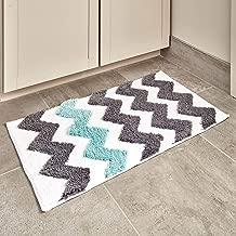 iDesign Chevron Bath Rug, Machine Washable Microfiber Accent Rug for Bathroom, Kitchen, Bedroom, Office, Kid's Room, 34