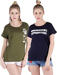 Broadstar Women Cotton Round Neck Olive, Black T-Shirt (Pack of-2 Combo)