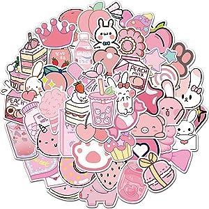 Pink Stickers for Water Bottles,Cute Vsco Vinyl Laptop Stickers,Waterproof Aesthetic Stickers,Kawaii Sticker Pack for Kids Girls(Pink rabbit)