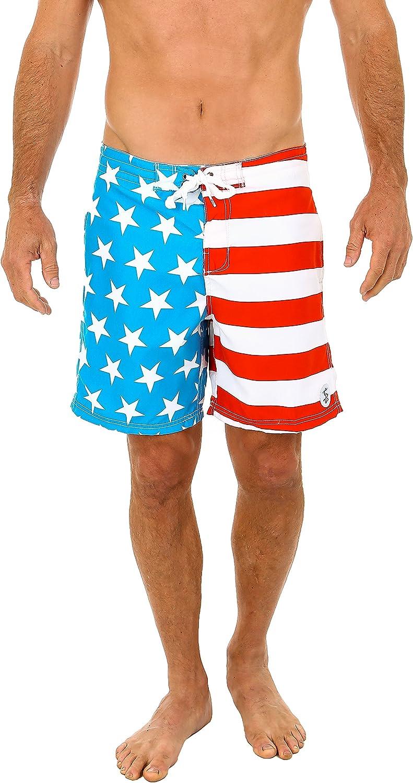 DEYYA July 4Th Independence Day American Flag Stars Summer Beach Shorts Pants Mens Swim Trunks Board Short for Men