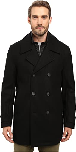 Cushing Pressed Wool Peacoat w/ Removable Quilted Bib