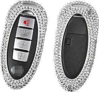 M.JVisun Handmade Car Key Fob Cover For Infiniti Remote Key, Diamond Car Key Case Cover Fits Infiniti Q50 Q50L Q60 Q70 ESQ QX50 QX60 QX70 QX80, Bling Crystals Aluminum Key Fob Cover Protector - Silver