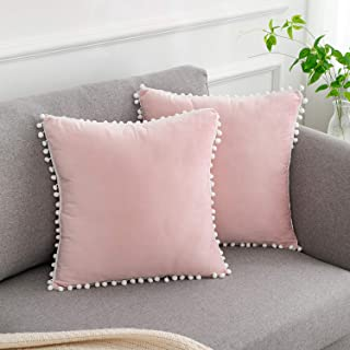 WLNUI Soft Velvet Pink Pillow Covers Set of 2 Decorative Cute Pom Poms Throw Pillow Covers Square Cushion Case for Sofa Couch Home Farmhouse Decor 18x18 Inches