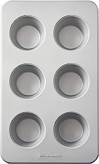 KitchenAid Nonstick Aluminized Steel Mega Muffin Pan, 6-Cup, Silver