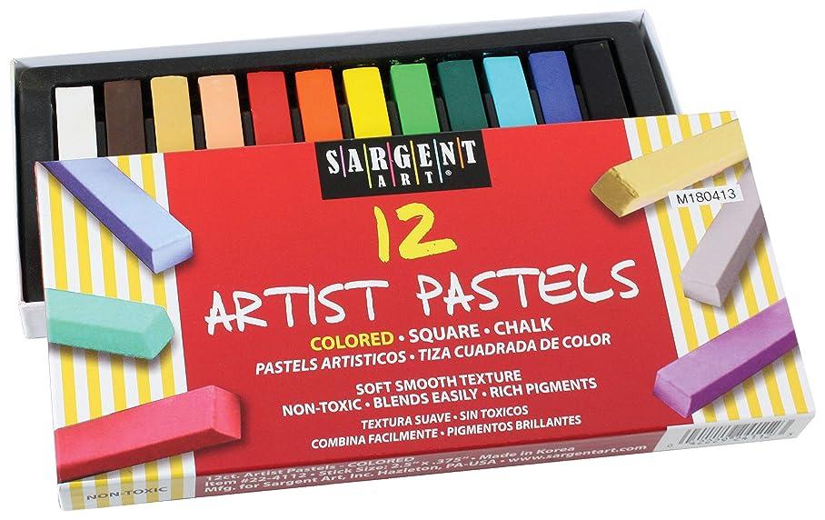 Sargent Art 22-4112 Colored Square Chalk Pastels, 12 Count vyfsbssmh070