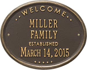 JMiY Welcome Oval Family Established Personalized Plaque Perfect for Wedding, Anniversary or Housewarming Gift (Bronze/Gold)