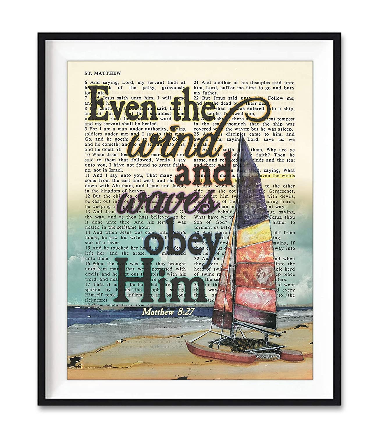 Even Industry No. 1 the wind and Waves Obey Bible Matthew Don't miss the campaign Vintage Him Ve 8:27