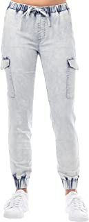 Almost Famous Women`s Juniors Cargo Mid-Rise Denim Jogger Pant with Drawstring