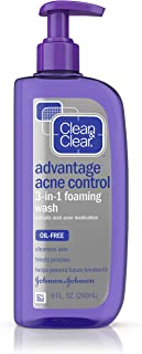 Clean & Clear Advantage Acne Control 3-in-1 Foaming Face Wash with Maximum Strength Salicylic Acid Acne Medicine, Oil-Free & Non-Comedogenic for Acne-Prone Skin Care, 8 fl. oz